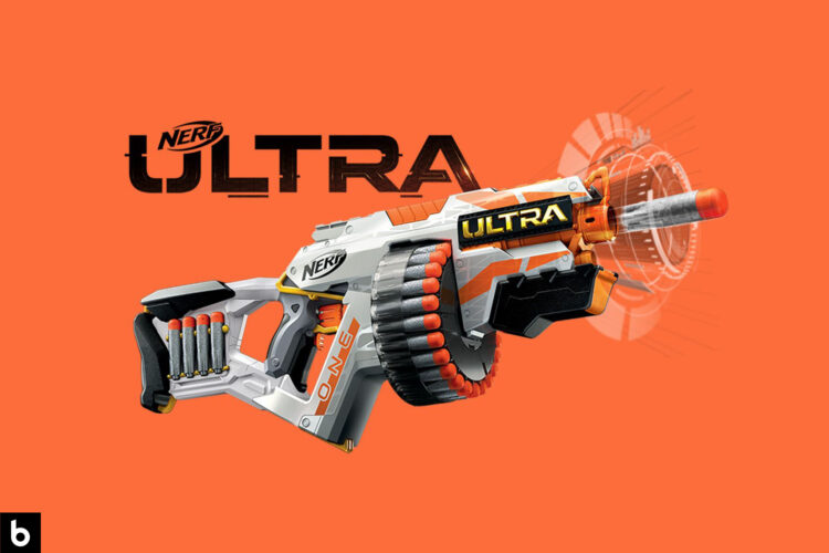This is the cover photo for our Best Nerf Gun article. It features a Nerf Ultra One blaster overlaying an orange background.