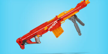 This is the cover photo for our Best Nerf Sniper Rifle article. It features a red Nerf Mega sniper overlaying a blue background with drop shadow.