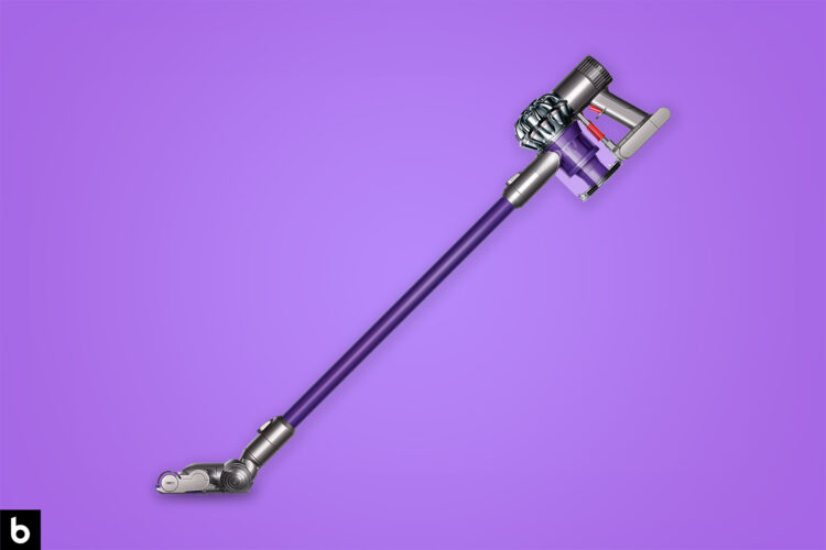 This is the cover photo for our Best Cordless Vacuum article. It features a cordless Dyson vacuum cleaner overlaid on a purple background with an embossed Burbro logo.