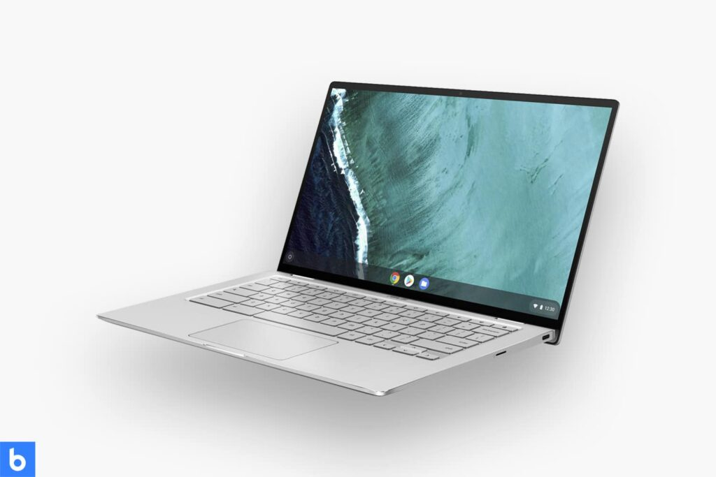 This is a product image in our Best Laptops for College Students in 2021 article. It is a photo of an ASUS Chromebook Flip C434 laptop overlaid on a minimalistic white background with a Burbro logo.
