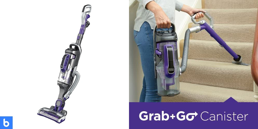 This is a product image in our Best Cordless Vacuum for 2021 article. It is a photo of the Black and Decker Pet Pro Power Series Cordless Vacuum overlaid on a minimalistic white background with a Burbro logo.