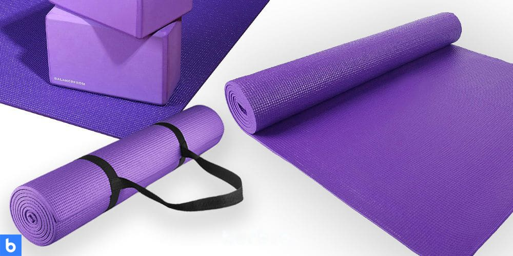 This is a photo of the GoYoga Mat by Balance Form overlaid on a minimalistic white background with a Burbro logo.