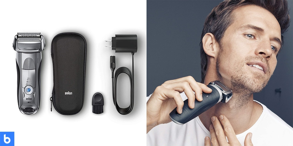 This is a product image in our Best Electric Shavers in 2021 article. It is a photo of the Braun Series 7 - 7893 Electric shaver overlaid on a minimalistic white background with a Burbro logo.
