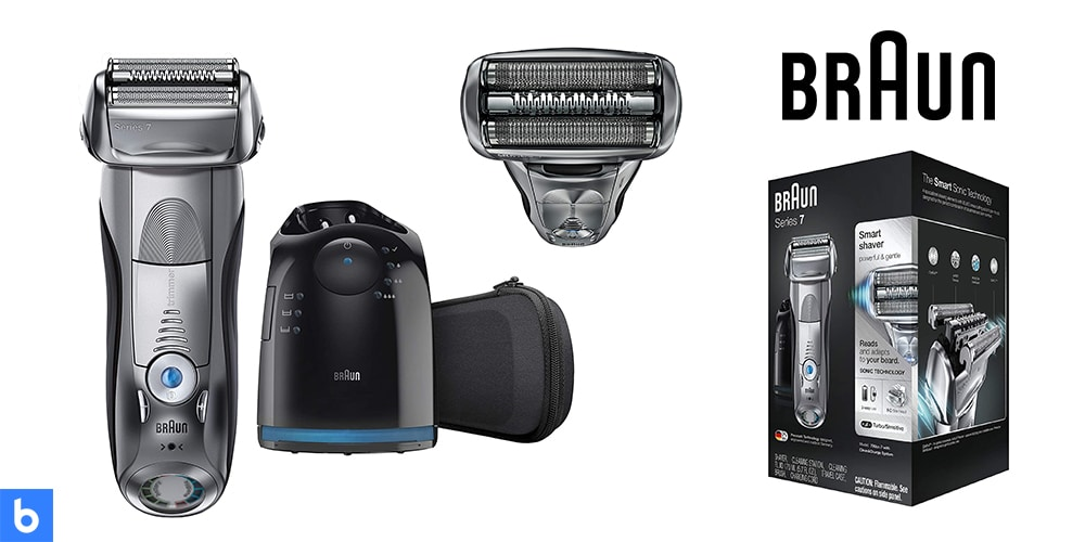 This is a product image in our Best Electric Shavers in 2021 article. It is a photo of the Braun Series 7 - 790cc Electric Shaver overlaid on a minimalistic white background with a Burbro logo.