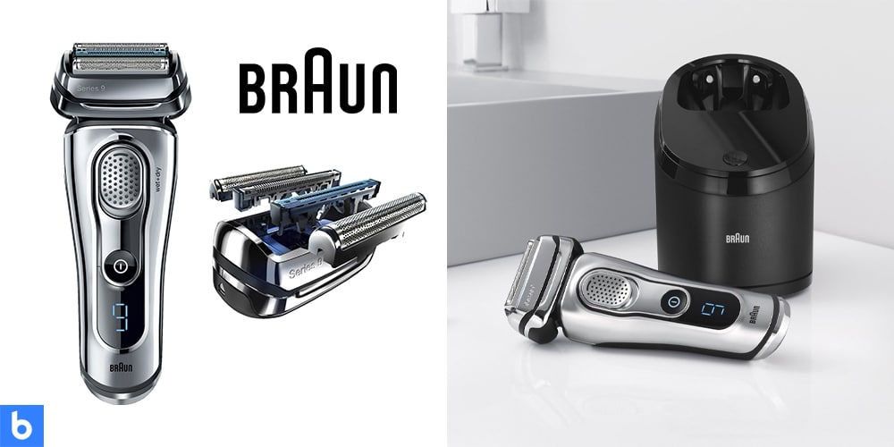 This is a product image in our Best Electric Shavers in 2021 article. It is a photo of the Braun Series 9 - 9095cc Wet and Dry Electric shaver overlaid on a minimalistic white background with a Burbro logo.