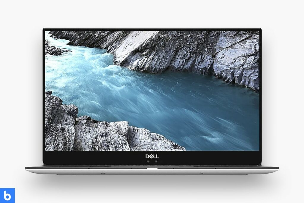 This is a product image in our Best Laptops for College Students in 2021 article. It is a photo of a Dell XPS 13 laptop overlaid on a minimalistic white background with a Burbro logo.
