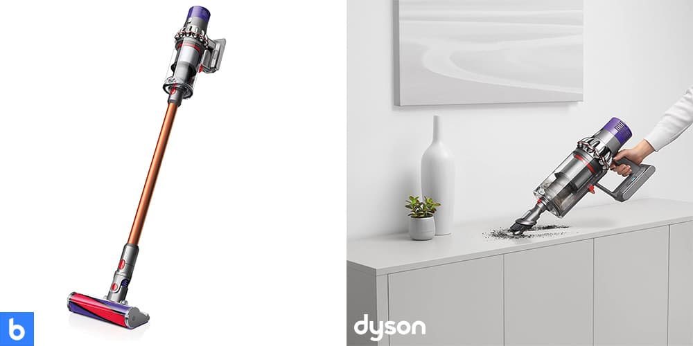This is a product image in our Best Cordless Vacuum for 2021 article. It is a photo of the Dyson Cyclone V10 Vacuum overlaid on a minimalistic white background with a Burbro logo.