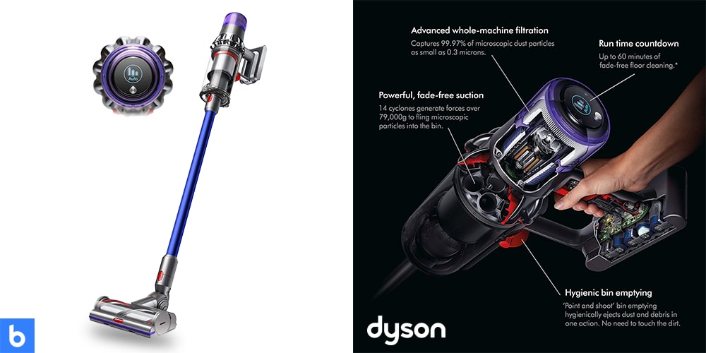 This is a product image in our Best Cordless Vacuum for 2021 article. It is a photo of the Dyson V11 Torque Drive vacuum overlaid on a minimalistic white background with a Burbro logo.