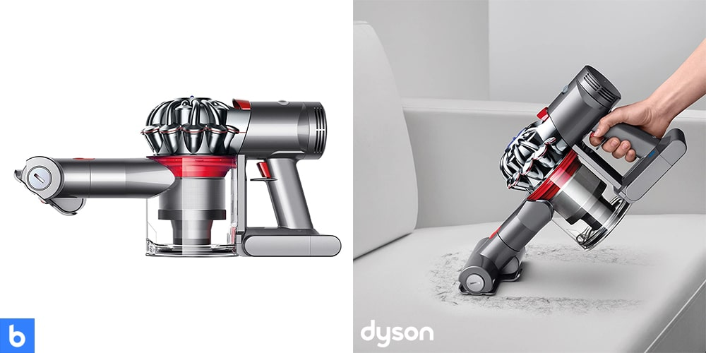 This is a product image in our Best Cordless Vacuum for 2021 article. It is a photo of the Dyson V7 Trigger Handheld Vacuum overlaid on a minimalistic white background with a Burbro logo.