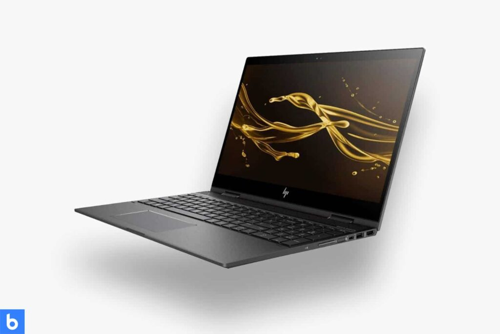 This is a product image in our Best Laptops for College Students in 2021 article. It is a photo of an HP Envy X360 laptop overlaid on a minimalistic white background with a Burbro logo.