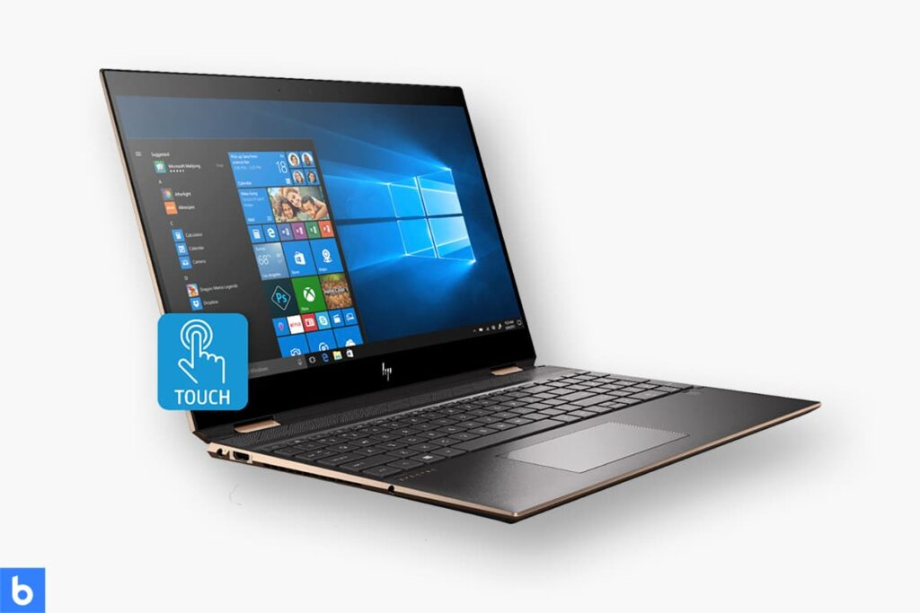 This is a product image in our Best Laptops for College Students in 2021 article. It is a photo of a HP Spectre x360 2 in 1 laptop overlaid on a minimalistic white background with a Burbro logo.
