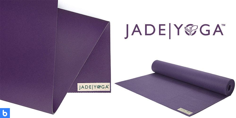 This is a photo of the Jade Fusion Yoga Mat overlaid on a minimalistic white background with a Burbro logo.