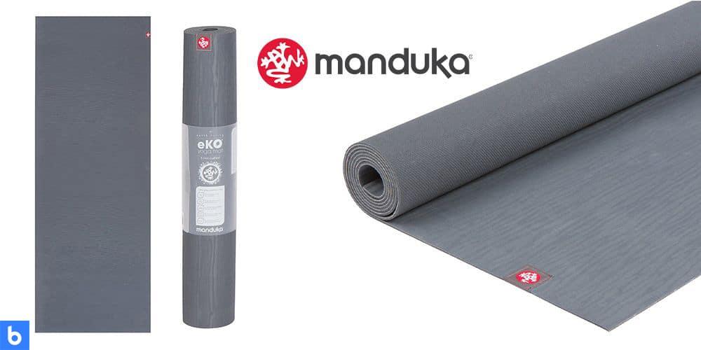 This is a photo of the Manduka eKo Yoga Mat overlaid on a minimalistic white background with a Burbro logo.
