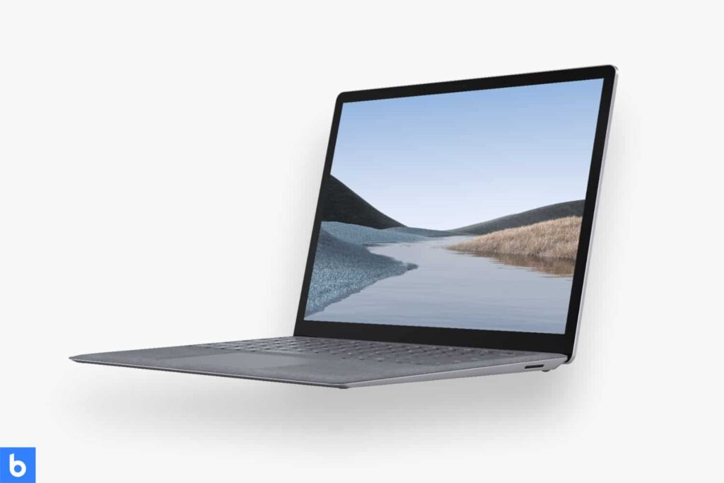 This is a product image in our Best Touchscreen Laptops in 2021 article. It is a photo of a Microsoft Surface Laptop 3 overlaid on a minimalistic white background with a Burbro logo.
