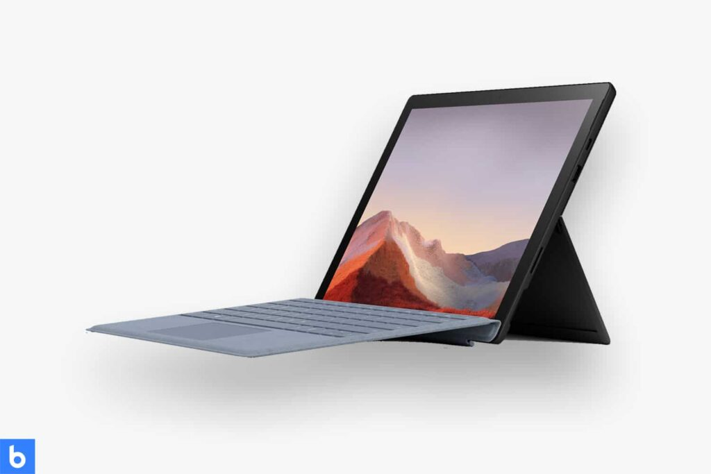 This is a product image in our Best Laptops for College Students in 2021 article. It is a photo of a Microsoft Surface Pro 7 laptop overlaid on a minimalistic white background with a Burbro logo.