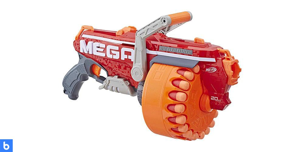 This is a photo of the NERF N-Strike Megalodon Blaster overlaid on a minimalistic white background with a Burbro logo.