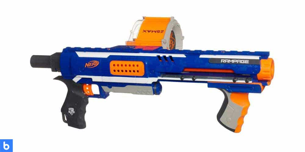 This is a photo of the NERF N-Strike Elite Rampage Blaster overlaid on a minimalistic white background with a Burbro logo.