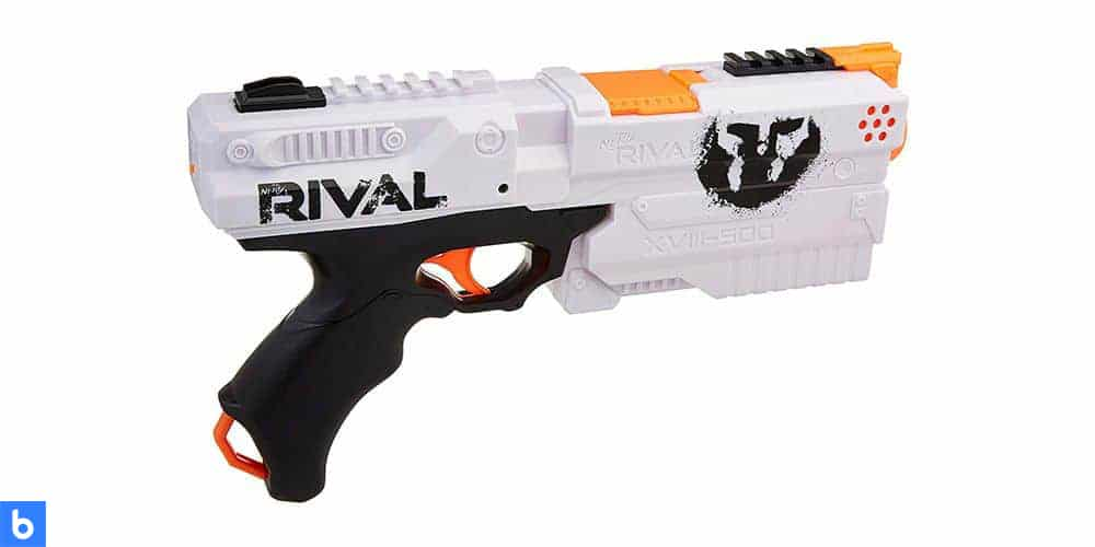 This is a photo of the NERF Rival Kronos XVIII 500 Blaster overlaid on a minimalistic white background with a Burbro logo.