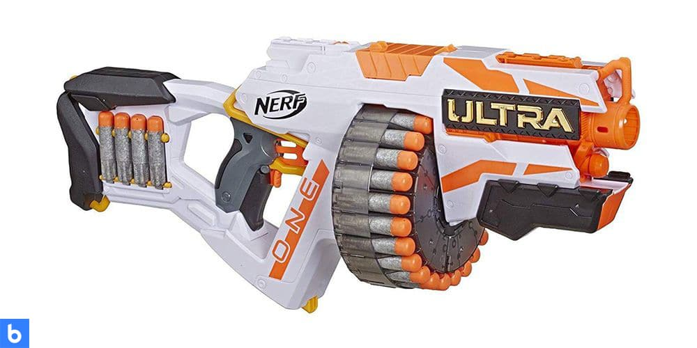 This is a photo of the NERF Ultra One Blaster overlaid on a minimalistic white background with a Burbro logo.