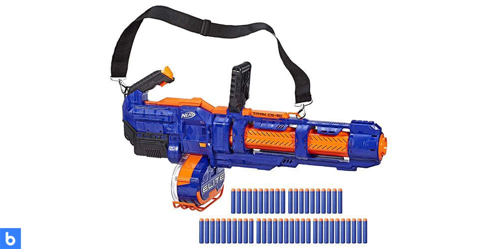 This is a photo of the NERF Elite Titan CS50 Blaster overlaid on a minimalistic white background with a Burbro logo.