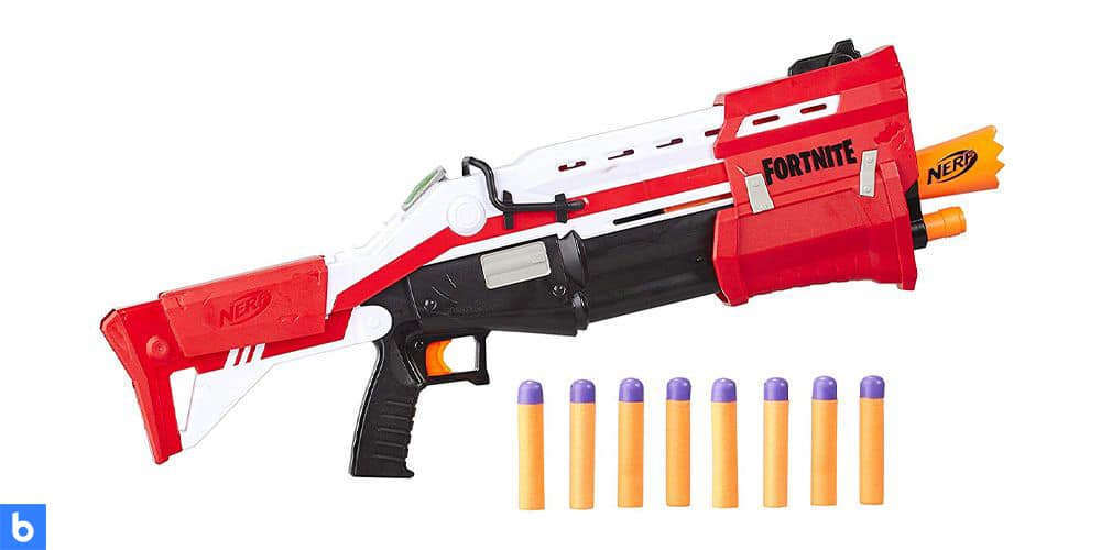 This is a photo of the Nerf Fortnite TS-1 Blaster overlaid on a minimalistic white background with a Burbro logo.
