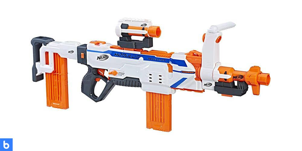 This is a photo of the NERF Modulus Regulator Blaster overlaid on a minimalistic white background with a Burbro logo.