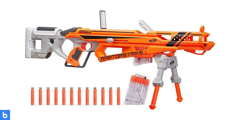 This is a photo of the NERF N-Strike AccuStrike Raptor Strike overlaid on a minimalistic white background with a Burbro logo.
