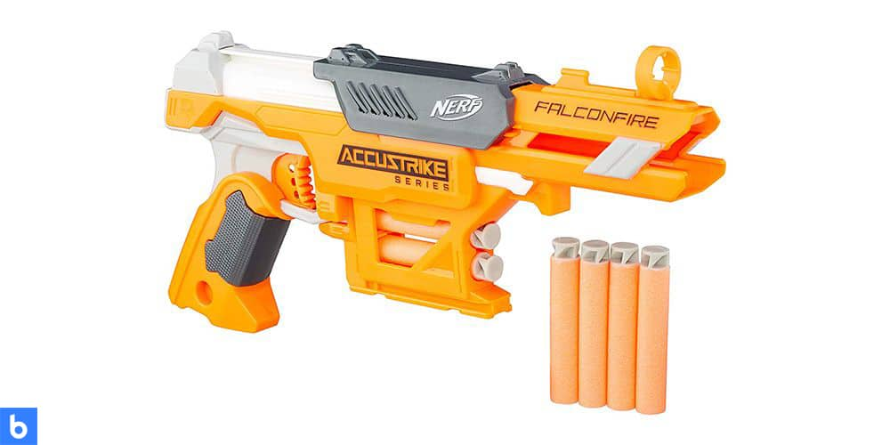 This is a photo of the NERF N-Strike AccuStrike FalconFire overlaid on a minimalistic white background with a Burbro logo.