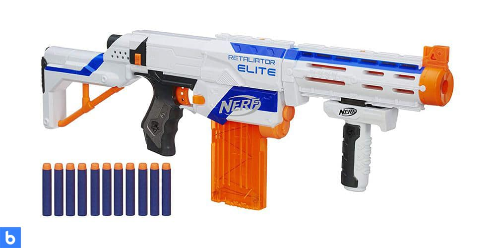 This is a photo of the N-Strike Elite Retaliator Blaster overlaid on a minimalistic white background with a Burbro logo.