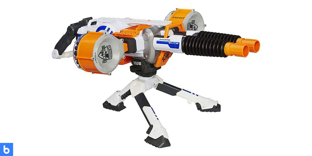 This is a photo of the NERF N-Strike Elite Rhino Blaster overlaid on a minimalistic white background with a Burbro logo.