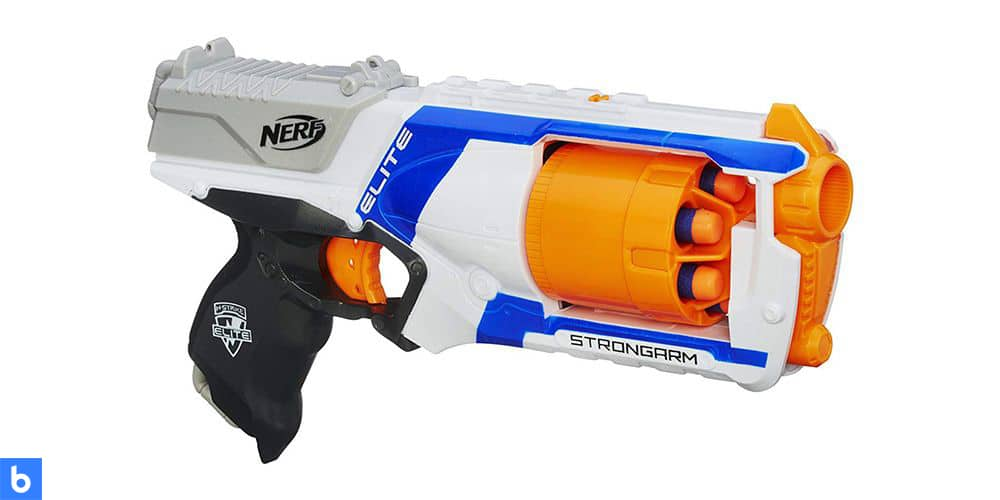 This is a photo of the N-Strike Elite Strongarm Blaster overlaid on a minimalistic white background with a Burbro logo.