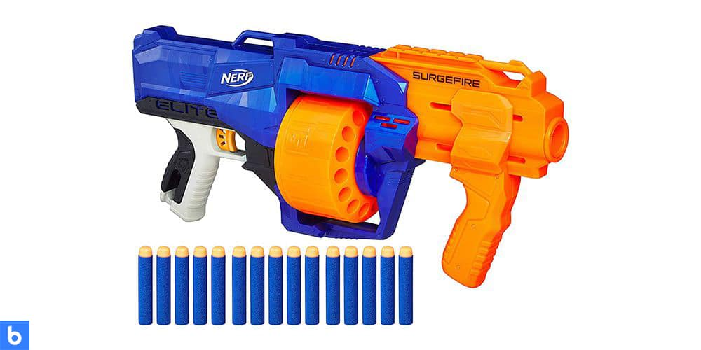 This is a photo of the N-Strike Elite SurgeFire Nerf Gun overlaid on a minimalistic white background with a Burbro logo.