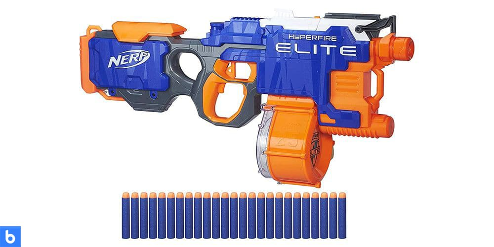 This is a photo of the NERF N-Strike Elite HyperFire Blaster overlaid on a minimalistic white background with a Burbro logo.