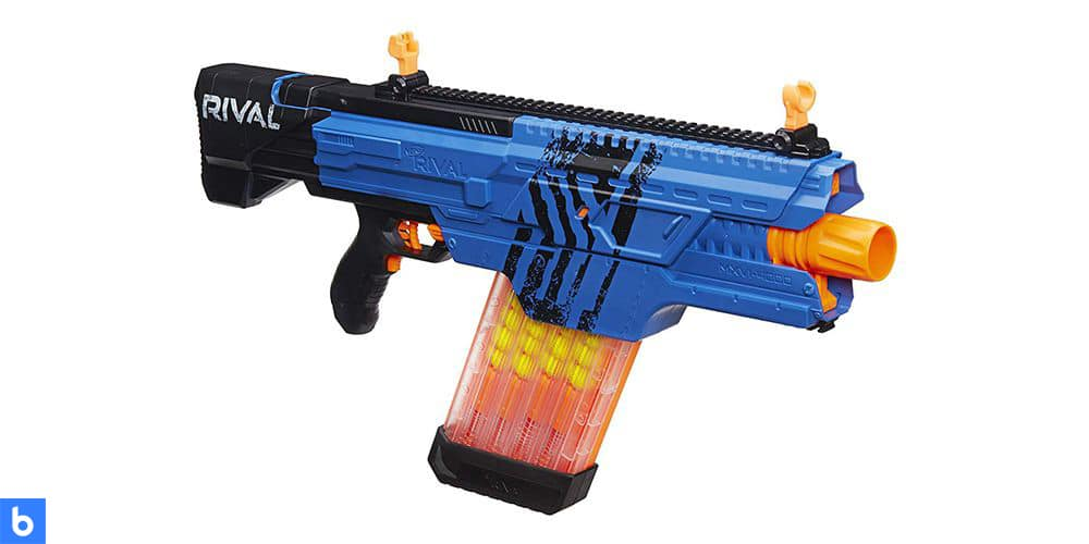 This is a photo of the NERF Rival Khaos MXVI 4000 Blaster overlaid on a minimalistic white background with a Burbro logo.