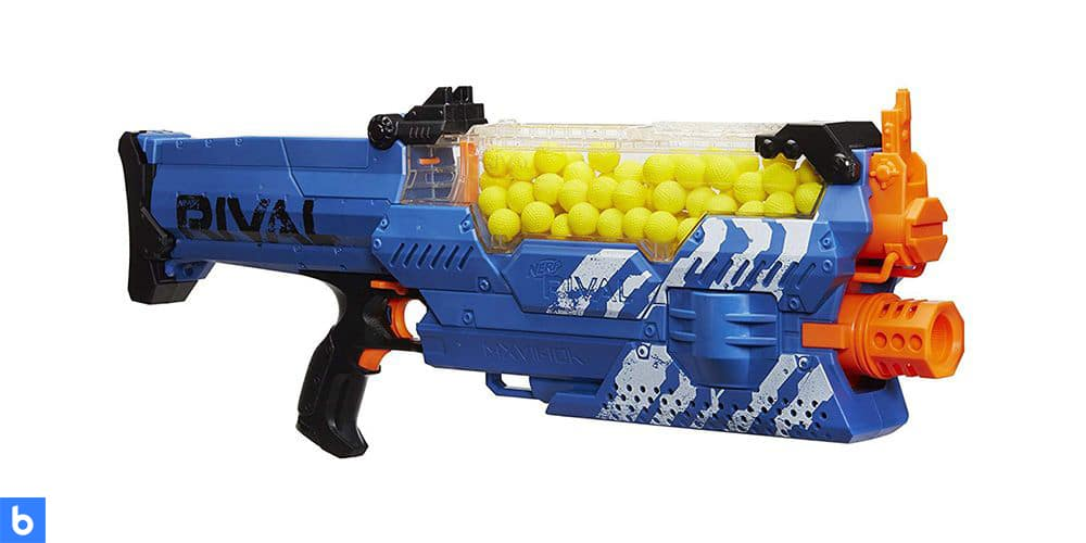 This is a product image in our Best Nerf Guns in 2021 article. It is a photo of the NERF Rival Nemesis MXVII-10K Nerf gun overlaid on a minimalistic white background with a Burbro logo.