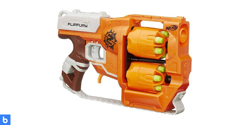 This is a photo of the NERF Zombie Strike FlipFury Blaster overlaid on a minimalistic white background with a Burbro logo.