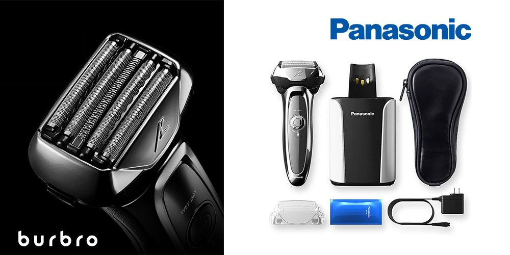 This is a product image in our Best Electric Shavers in 2021 article. It is a photo of the Panasonic Arc5 Electric Shaver overlaid on a minimalistic white background with a Burbro logo.