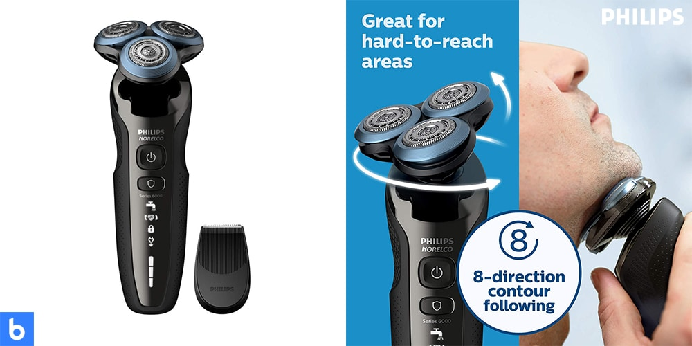 This is a product image in our Best Electric Shavers in 2021 article. It is a photo of the Philips Norelco 6800 shaver overlaid on a minimalistic white background with a Burbro logo.