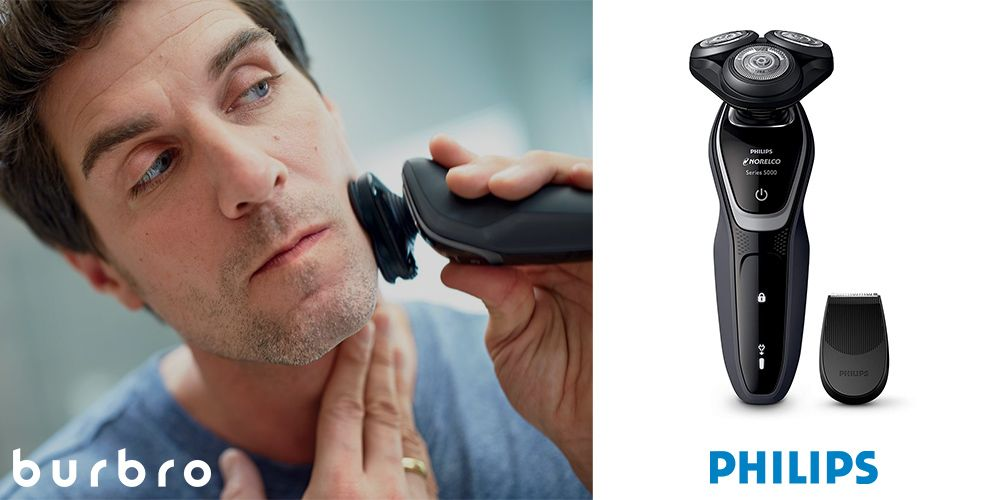 This is a product image in our Best Electric Shavers in 2021 article. It is a photo of the Philips Norelco 5100 Shaver overlaid on a minimalistic white background with a Burbro logo.