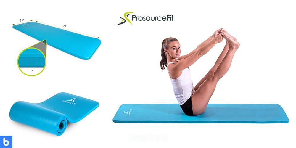 This is a photo of the ProSource Yoga Mat overlaid on a minimalistic white background with a Burbro logo.