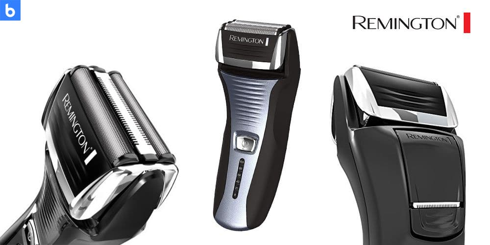 This is a product image in our Best Electric Shavers in 2021 article. It is a photo of the Remington F5 - 5800 Foil Shaver overlaid on a minimalistic white background with a Burbro logo.
