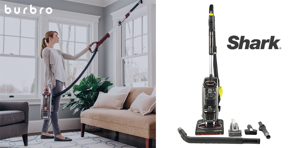 This is a product image in our Best Cordless Vacuum for 2021 article. It is a photo of the Shark DuoClean Powered Lift-Away Vacuum overlaid on a minimalistic white background with a Burbro logo.
