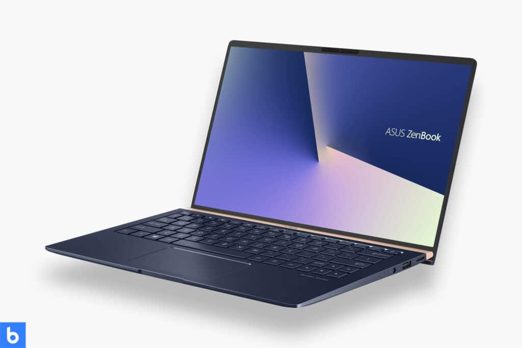 This is a photo of a Asus Zenbook 13 inch laptop overlaid on a minimalistic white background with a Burbro logo.