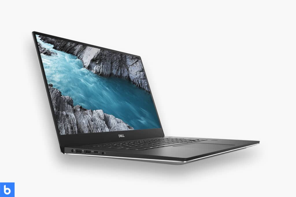 This is a product image in our Best Business Laptop for 2021 article. It is a photo of a Dell XPS 15 laptop overlaid on a minimalistic white background with a Burbro logo.