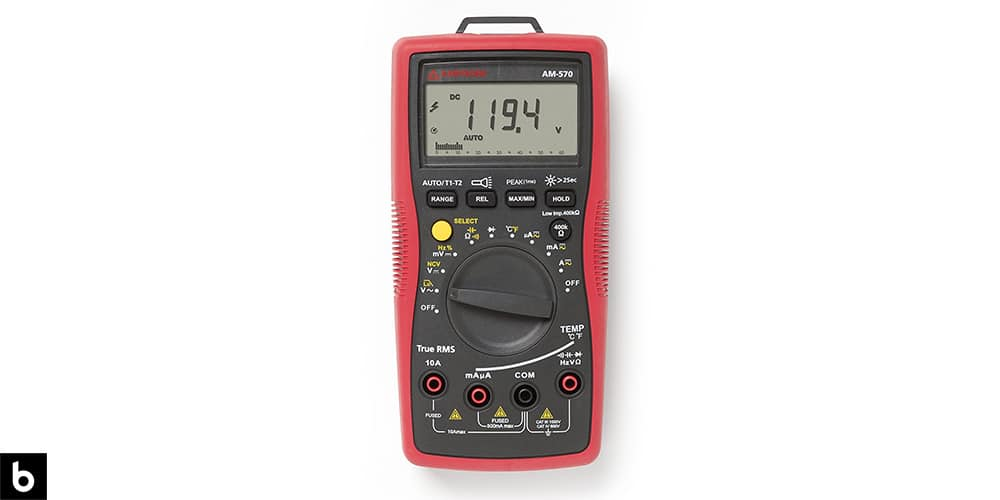 This is a photo of a red Amprobe AM-530 TRMS Multimeter overlaid on a minimalistic white background with a Burbro logo.
