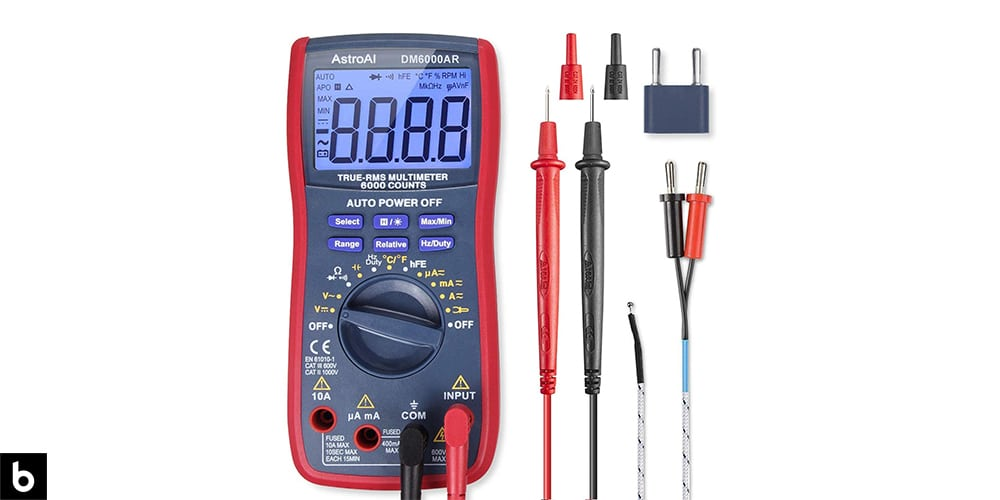 This is a photo of a red AstroAI TRMS 6000 DMM Multimeter overlaid on a minimalistic white background with a Burbro logo.