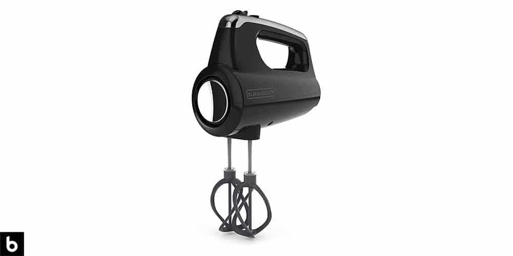 This is a photo of a black and silver colored Black and Decker Helix Mixer overlaid on a minimalistic white background with a Burbro logo.