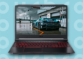 This is the cover for our Best Gaming Laptop Under $1500 article. It features Acer Nitro 5 laptop overlaying a turquoise background with an embossed Burbro logo.