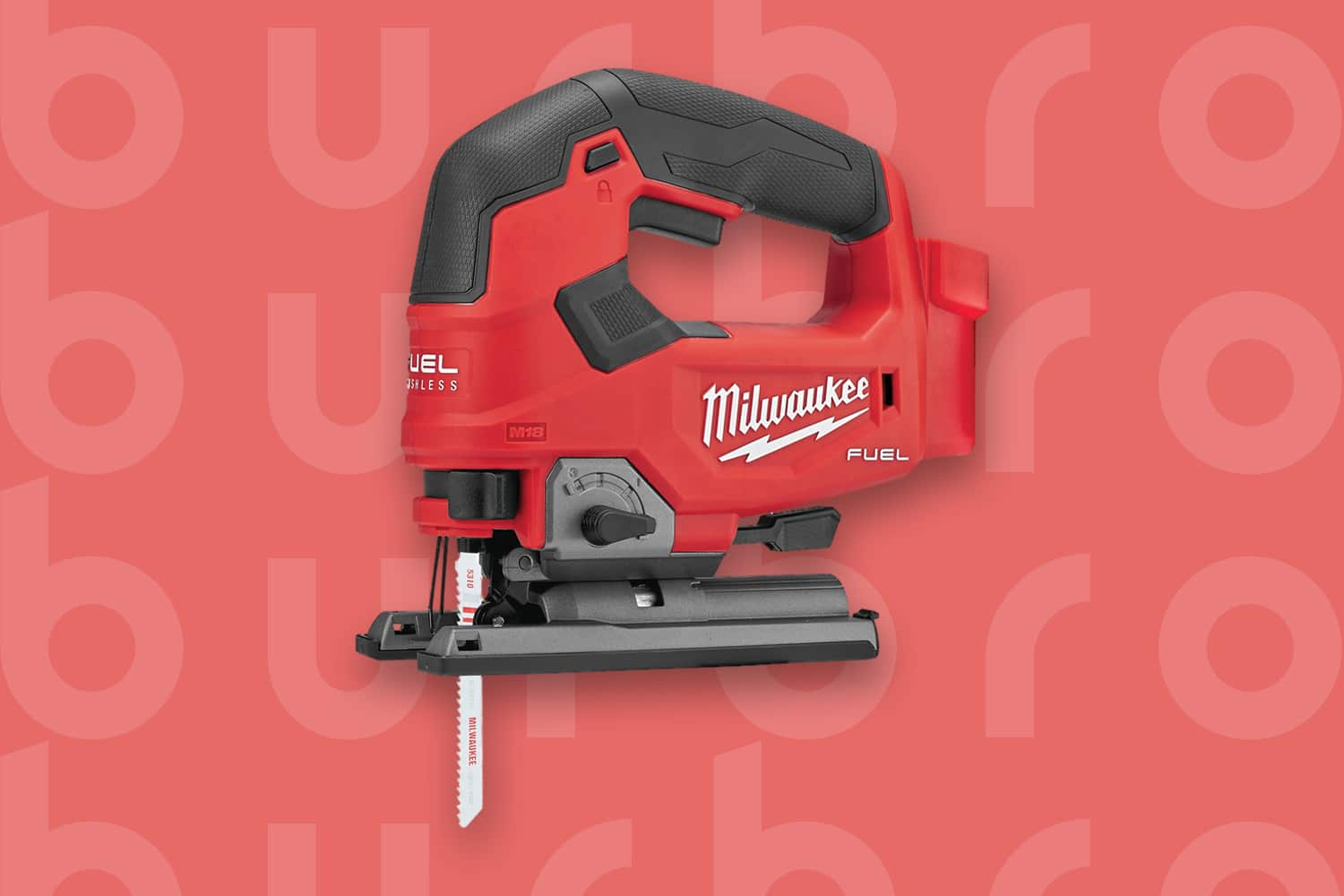 This is the cover photo for our Best Jigsaw article. It features a red Milwaukee jigsaw overlaying a light red poster background with an embossed Burbro logo.