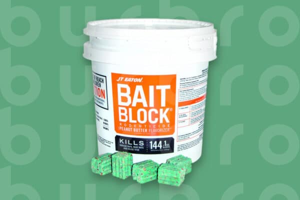 This is the cover photo for our Best Mouse Poison article. It features a bucket of JT Eaton Bait Block rodenticide overlaying a green background with an embossed Burbro logo.
